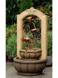 classical outdoor indoor water fountain with metal flower indoor