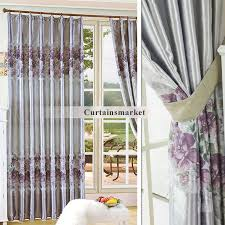 Purple Window Valances And Grey Curtains In Elegant Floral Style