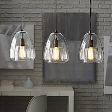Pendant Lights For Kitchens Duo Walled Pendant 3 Light Black Oxide Clear Pendants