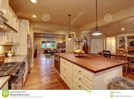classic kitchen with hardwood floor and an island stock photo