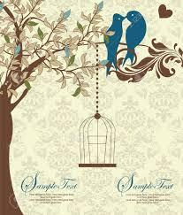 love birds sitting in a tree wedding invitation royalty free