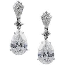 pear drop earrings certified 5 carat pear shape diamond drop earrings for sale at