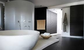 bathroom contemporary bathroom decor ideas with wricker bathroom black hardwood floor towel rails hand shower round white