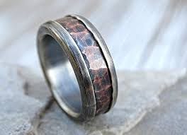 mens rustic wedding bands chunky mens ring copper mens wedding band bold forged