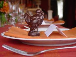 chocolate turkeys with place setting card oliver kita confections