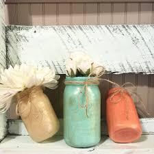 aqua coral gold mason jar home decor wedding decor office