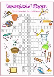 thanksgiving crossword puzzle printable 12 free esl household items worksheets