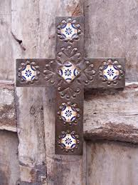 religious decorations for home sale mexican cross talavera and metal crafted by hand by artisan