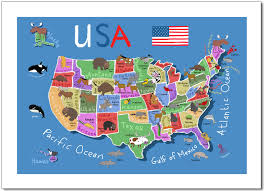 Wall Map Of Usa by Animals World Map North Americacolorful Cartoon Stock Vector