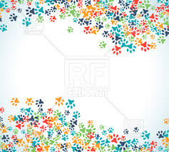 colorful animal footprint ornament border royalty free vector clip
