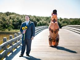 T Rex Costume Bride In T Rex Costume Has Roaring Success Surprising Groom At