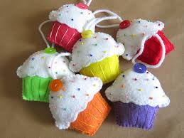 set of 6 felt cupcake christmas ornaments 30 00 via etsy