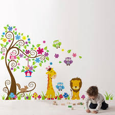 home decoration diy kid u0027s child room decal cartoon cute lion owl