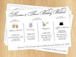 items similar to couple u0027s wedding weekend schedule printable