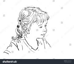 sketch girls face profile hand drawn stock vector 598890998