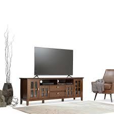 simpli home artisan medium auburn brown storage entertainment
