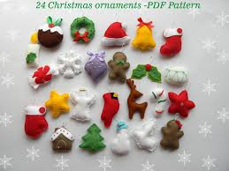 felt christmas ornaments pdf pattern 24 advent ornaments pattren christmas ormaments