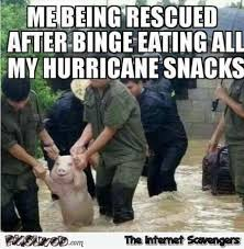 Meme Eating - me being rescued after eating all my hurricane snacks funny meme