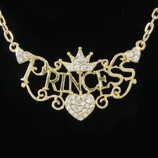 princess necklace images Crown princess tiara heart choker necklace clear crystal gold tone jpg