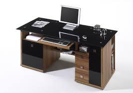 Schreibtisch Schwarz Schreibtisch Home Office Walnuss Glas Schwarz Ebay