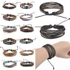 bracelet mens ebay images Men 39 s bracelet leather gold diamond beaded ebay jpg