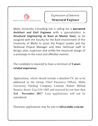 call for structural engineer muhc