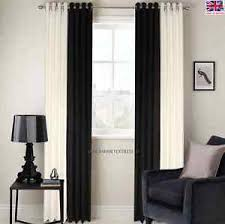 2 Tone Curtains Ring Top Fully Lined 2 Tone Stripe Ready Made Pair Eyelet Curtains