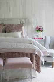 Light Grey Headboard Pink And Gray Bedroom Features A Light Gray Headboard With Silver