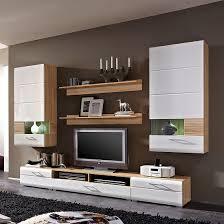 Wohnzimmerschrank Restaurieren Wohnwand Avida I 7 Teilig Sonoma Eiche Dekor Weiß Hochglanz