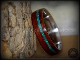 custom metal rings images Bentwood rosewood wood ring peacock opal inlay stainless steel JPG