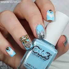 nailsbyerin blue and silver bling nails