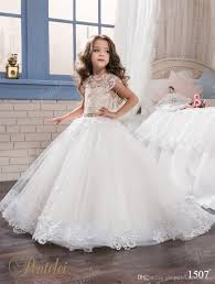 kids wedding dresses 2017 pentelei with cap sleeves and sweep
