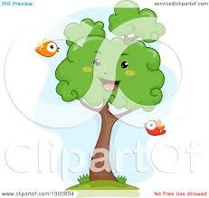 clipart of a cartoon lush happy tree with birds royalty free