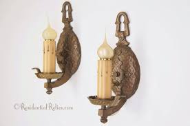 Cast Iron Wall Sconces Pair Single Candle Vintage Cast Iron Hammered Wall Sconces Circa
