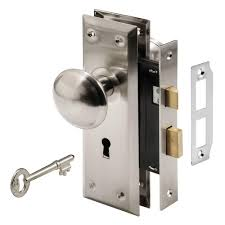 prime line mortise lock set with keyed nickel plated knobs e 2330