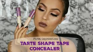 light sand tarte concealer first impression tarte shape tape concealer youtube