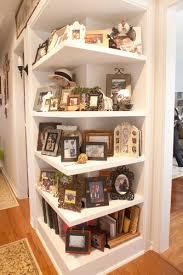 Bookshelves Corner by Water Heater Closet Made Into Corner Shelves Built In Corner