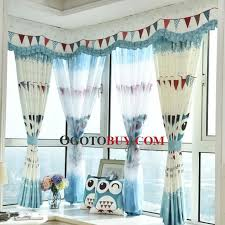 Discount Curtains And Valances Blue And White Animal Print Poly Cotton Blend Custom Short Kids