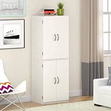 Tall Storage Cabinet With Doors And Shelves by Amazon Com Mainstays Tall Storage Cabinet 4 Door White Stipple