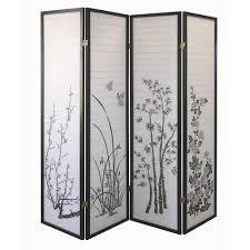 privacy room dividers amazon com ore international black 4 panel bamboo floral room