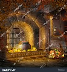 fantasy cottage fireplace vines cornucopia decorations stock