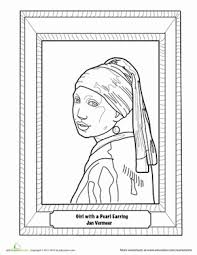 pearl earring painting girl with a pearl earring painting worksheet education