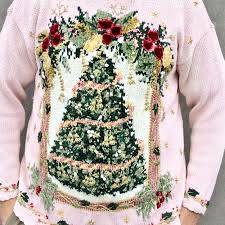 vintage 90s pink big tree tacky sweater