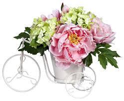 Silk Flower Arrangements Peony And Hydrangea Tricycle Silk Flower Arrangement Farmhouse