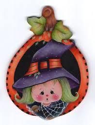 hand painted pumpkin halloween clipart folk art halloween ghost witch pumpkin spooky wood acrylic
