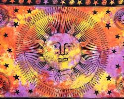 Wall Tapestry Hippie Bedroom Amazon Com Celestial Sun Moon Stars Tie Dye Tapestry Hippie