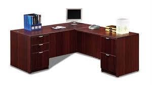 techni mobili double pedestal laminate computer desk chocolate office furniture 1 800 460 0858 trusted 30 years experience
