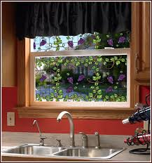 faux stained glass kitchen cabinets grapevine stained glass see through window