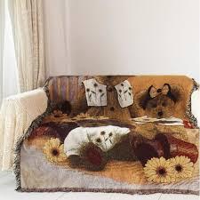plaid coton canapé plaid rétro trois ours couverture coton canapé coussin serviette