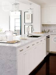 Off White Kitchen Cabinets by Best 25 Waterfall Countertop Ideas On Pinterest Marble Kitchen